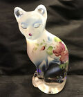 FENTON GLASS HP FRENCH OPALESCENT COTTAGE ROSES STYLIZED CAT FIGURINE