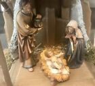 Hand Carved Wood PEMA KOSTNER Nativity Scene Holy Family Stable Made in Italy