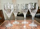 SETS OF 4 PALM TREE WATER GLASSES GOBLETS SHANNON CRYSTAL BY GODINGER 8 TALL
