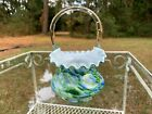 Fenton Vasa Murrhina Adventurine Green with Blue BASKET 75 Cased White Glass