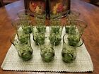 Vintage Set of 11 Libbey Crazy Daisy Spring Blossom Green Glass Tumbler 6 Tall