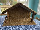 Vintage Christmas Nativity Large Creche Stable Wood Wooden Manger 24 x 15