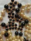 VINTAGE CHANEL 1983 BLACK GRIPOIX GLASS FLOWER PEARL NECKLACE