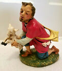 Vintage Shepherd Man w Sheep Christmas Nativity Large Figure Figurine Statue