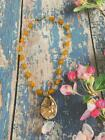 Stunning Vintage Signed Murano glass hand blown gold tone pendant necklace