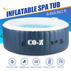 6 Person Round Inflatable Hot Tub Spa w 140 Bubble Jets for Patio Backyard