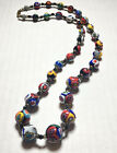 Vintage Venetian Millefiori Mosaic Glass Hand Knotted Bead Beaded Necklace