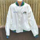 Vintage White Satin Jacket Ducks Unlimited Mens XXL Bomber Hunting USA