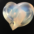 Lovely Lalique Opalescent Crystal Entwined Heart Paperweight