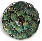 Antique Vtg Button LARGE Victorian LACY Glass w Green Paisleys NICE H