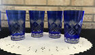 VINTAGE BOHEMIAN CUT TO CLEAR COBALT BLUE Drinking GLASSES SET OF 4 Large 55