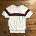 Vintage 80s Womens Rainbow T Shirt Size Small Short Sleeve Top Retro Colorful