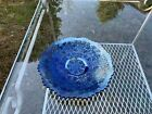 Fenton Leaf Chain Cobalt Blue Carnival Glass 75 Plate Footed Nice Iridescence