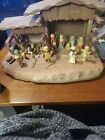 ANRI EXQUISITE VINTAGE HAND CARVED PAINTED WOODEN NATIVITY SET 14 PIECE