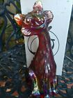 FENTON ART GLASS RUBY RED CARNIVAL GLASS ALLEY CAT with chip on one ear