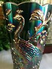 Fenton Stamped Amethyst Carnival Glass Peacock And Flowers 8 Vase