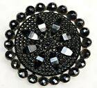 Antique Vtg Button Large Riveted Black VICTORIAN Mourning GLASS NICE