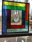 Rainbow Stained Glass Panel With Huge Hanging Crystal