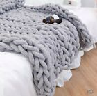 Large Soft Chunky Knitted Thick Blanket Hand Yarn Wool Throw Sofa Blanket Gift