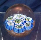 Vintage Millefiori Glass Paperweight Round Small Size Blue Gold Base
