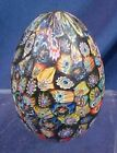 Vintage Millefiori Glass Murano Egg Shaped Paperweight Multi Color