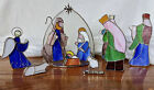 Stained Glass Nativity Set 10 Pieces Art Glass Complete