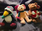 TY Jingle Beanies Ornaments, Set of 3, Pre Owned,yummy,toboggan, 2003 holiday ..