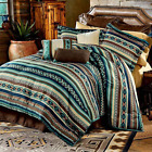COZY BROWN BLUE GREEN TEAL WHITE TURQUOISE NATIVE COUNTRY WESTERN COMFORTER SET