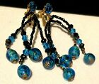 Rare Vintage 3 Signed Miriam Haskell Black Blue Art Glass Drippy Clip Earrings