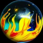 Red Hot Flames  Cooling Water Handmade Art Glass Mint Marble 87 WGA