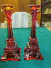 Pair of Vintage Eiffel Tower Candlestick Candle Holders Amberina Glass