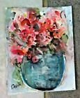 Original Collectible impressionistic Mini Roses watercolor painting 6x45
