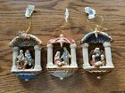 Beautiful Ceramic Nativity Hanging Christmas Tree or Wall Ornaments Set of 3