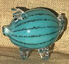 Vintage Murano Art Glass Pig Piggy Turquoise Blue Black Stripe Italian Melon