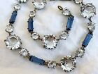 Vintage Antique Art Deco Rivire Crystal Paste Glass Bezel Open Back Necklace