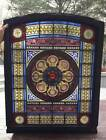 antique STAINED LEADED GLASS ARCHED CHURCH WINDOW OUTSTANDING