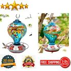 Hummingbird Feeder Hand Blown Glass Large Blue Egg with Flowers S Hook Ant Moat