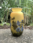 Antique Emile Galle Amber And Blue Trumpet Flower Cameo Glass Vase 775