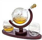 Whiskey Glass Ship Decanter Set With Two Globe Design Glasses Liquor Scotch
