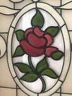 Framed Rose Stained Glass Window Gallery Wall VTG Decor 14 X 18 Cottagecore