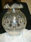 Vintage Clear Glass Globe Ruffled Top Lamp Shade Oil Electric 105 TALL