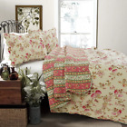 NEW COZY SHABBY CHIC COUNTRY PINK RED IVORY GREEN YELLOW ROSE SOFT QUILT SET