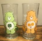 Lot Of 2 Pizza Hut Care Bears Glass Good Luck  Friend Bear 1983 EXCELLENT NM