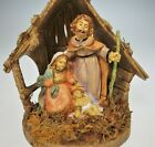 Italian Nativity Mary Joseph Baby Jesus Stable Single Piece Christmas
