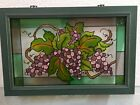 Stained Glass Window Panel Wood Frame 20x13 Vineyard Sun Catcher