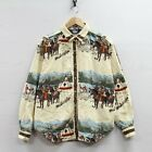Vintage Woolrich Button Shirt Large Long Sleeve Native American Teepee Mountain