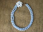 Rare  Vintage Murano Glass Blue Beads Necklace W Glass Flowers 15