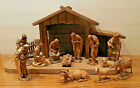 Vintage ANRI 5 Hand Carved Wood Nativity KUOLT Set of 13