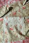 Antique French thick cotton satin fabric rose bouquets imperfect for re work