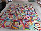 173 QUILT TOP RAINBOW PATTERN WITH CENTER FLOWER 52 X 615 100 COTTON